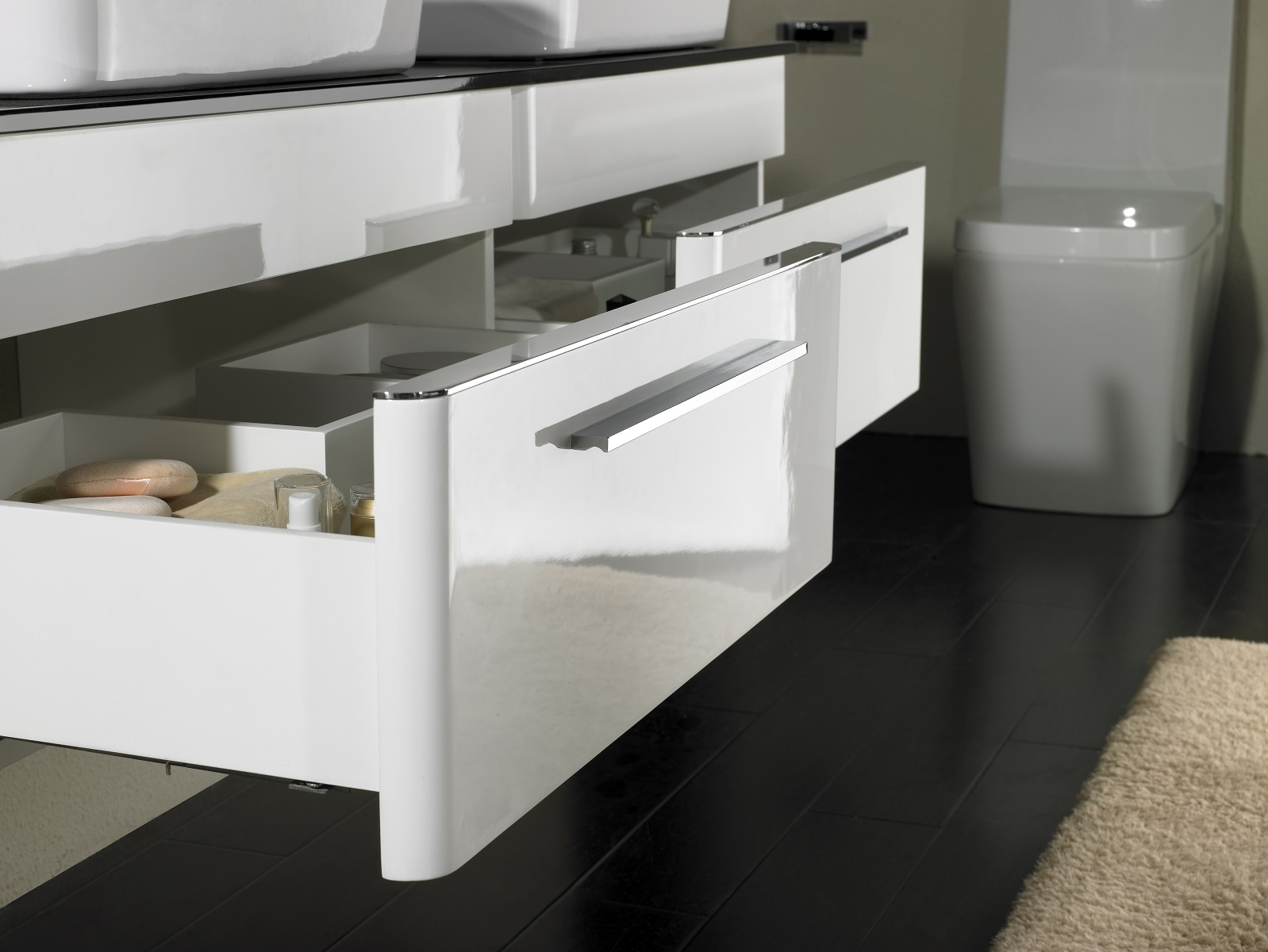 Serinity double sink modern bathroom vanity set 60 in for Modern bathroom sink and vanity
