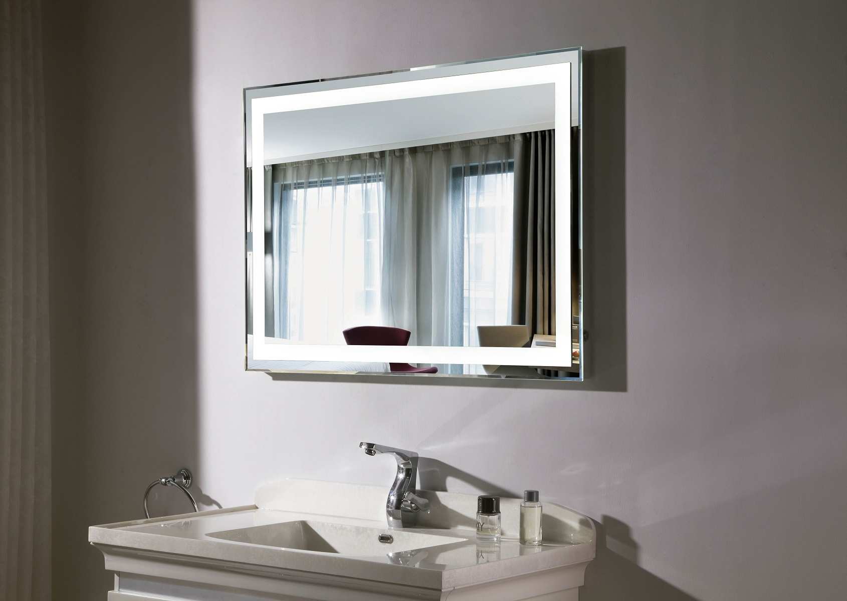 Budapest iii lighted vanity mirror led bathroom mirror Bathroom lighted vanity mirrors