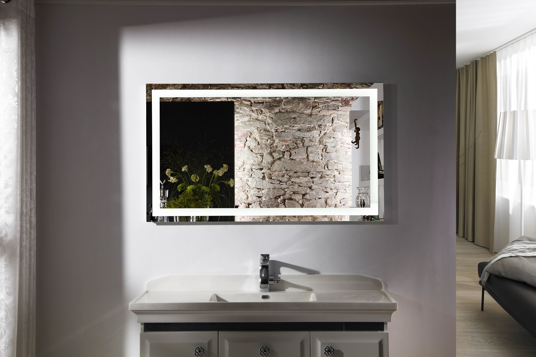 Budapest iv lighted vanity mirror led bathroom mirror for Bathroom vanity mirrors
