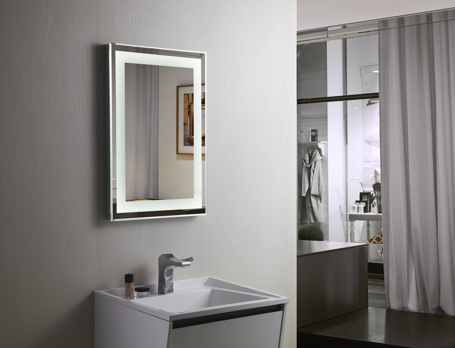 Budapest lighted vanity mirror led bathroom mirror for Mirrors for bathroom vanity