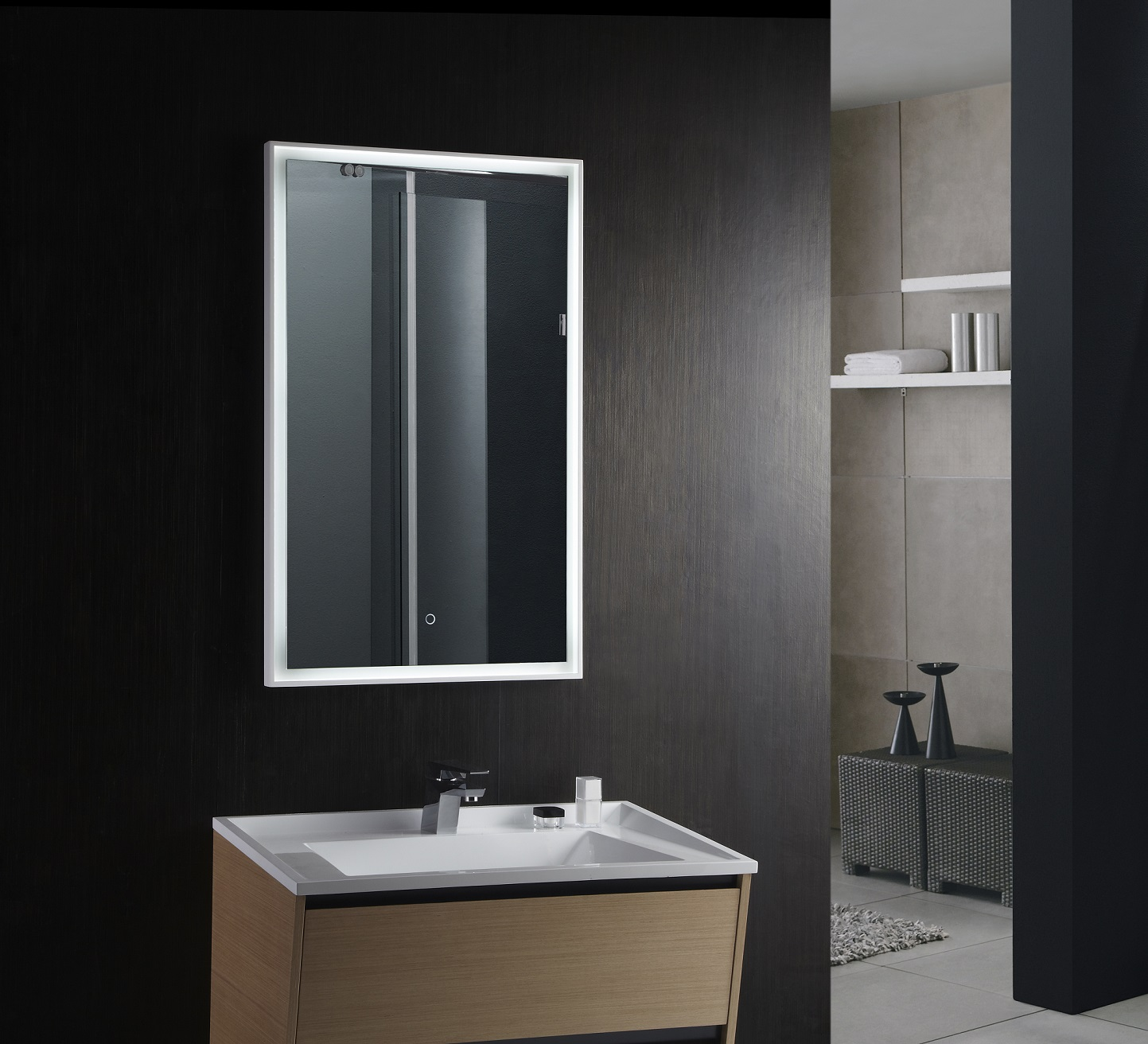 fiori lighted vanity mirror led bathroom mirror. Black Bedroom Furniture Sets. Home Design Ideas