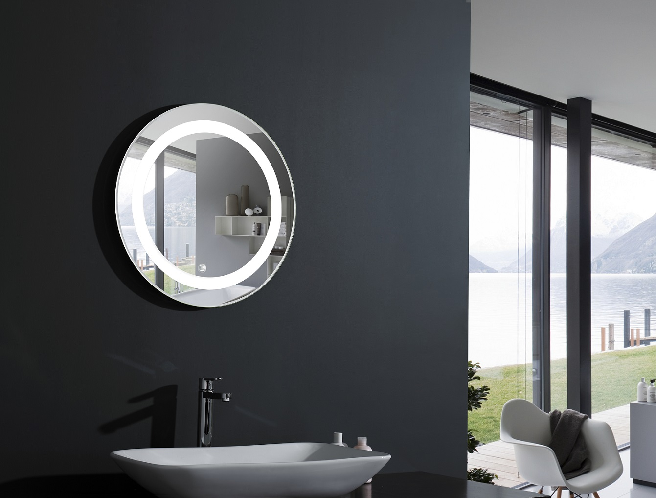 elita round lighted vanity mirror led bathroom mirror. Black Bedroom Furniture Sets. Home Design Ideas