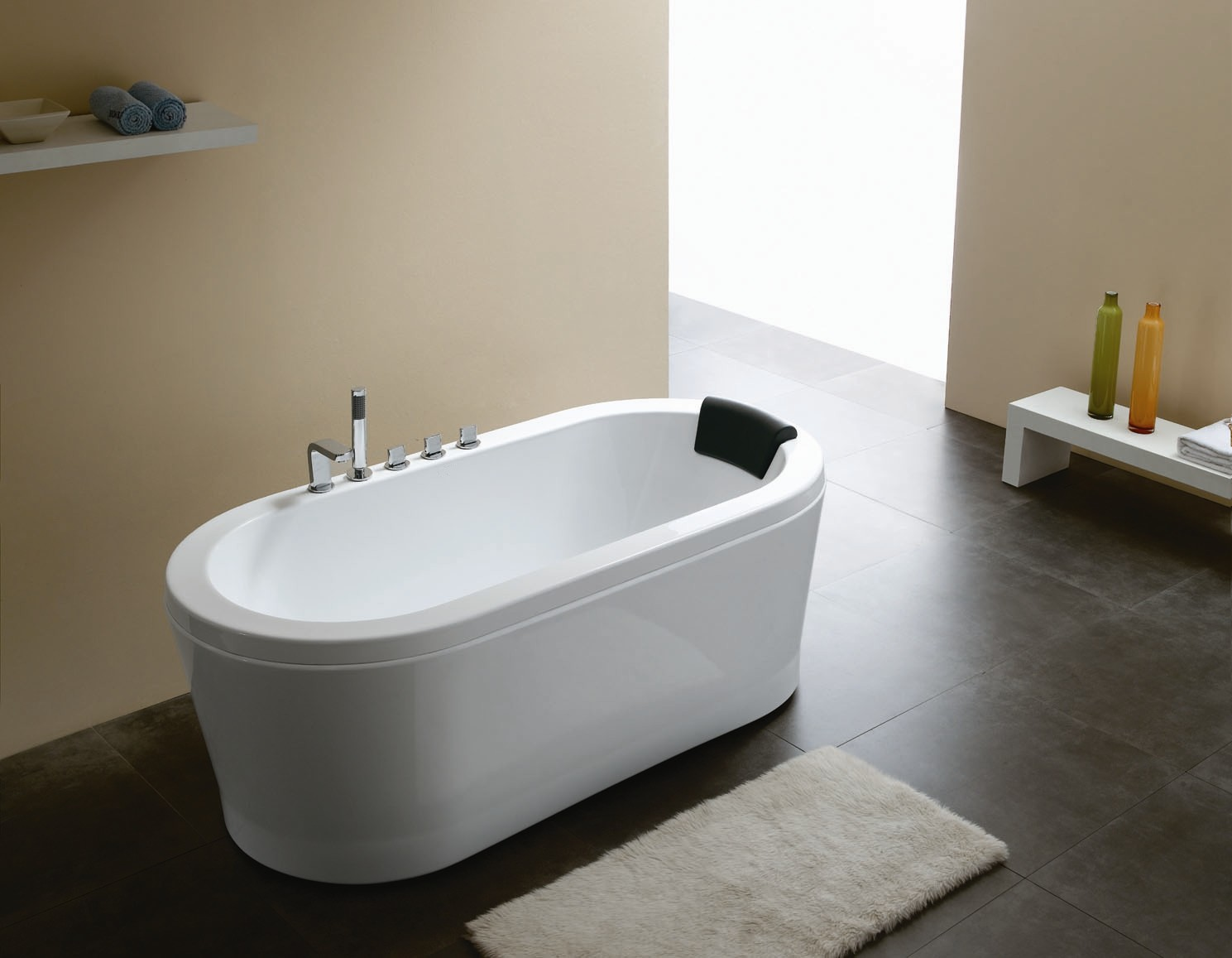 Nazzano acrylic modern bathtub 63 for Bathroom ideas without bathtub