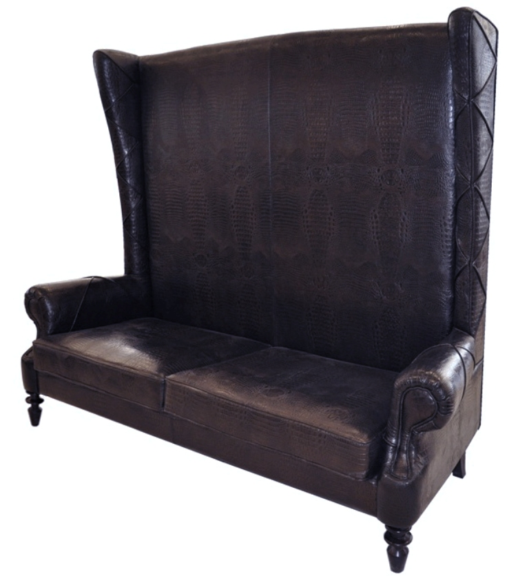 Loveseat High Back Love Seat Chair Vigo Brown Crocodile Embossed Leather Ebay