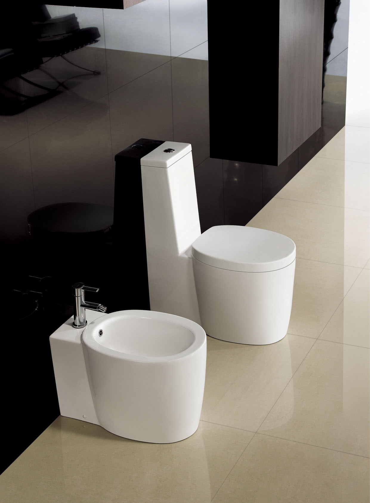 Modern toilet bathroom toilet one peice toilet dual for Photo toilette moderne