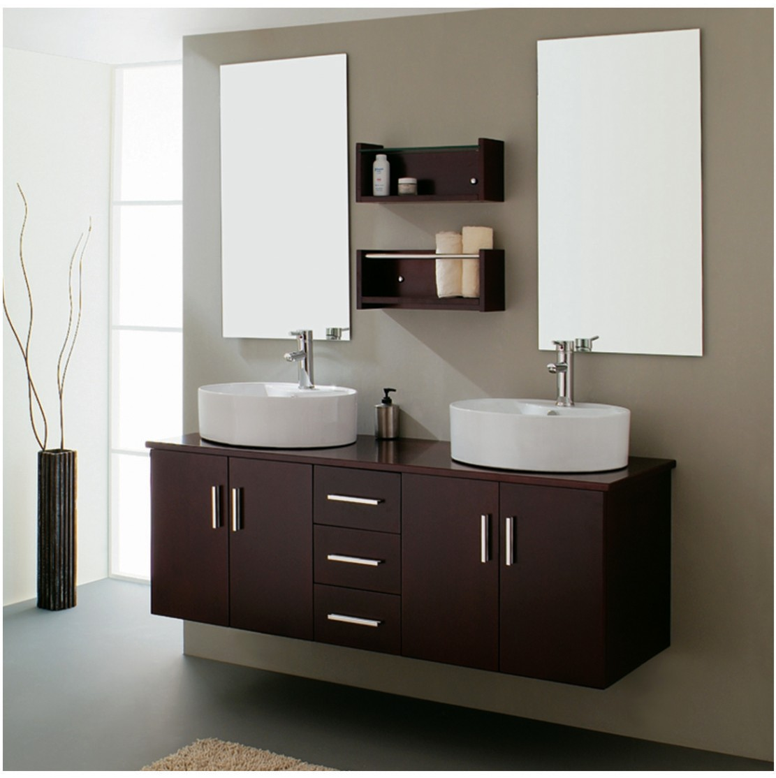 Modern bathroom double sink home decorating ideas for Modern bathroom cabinets ideas