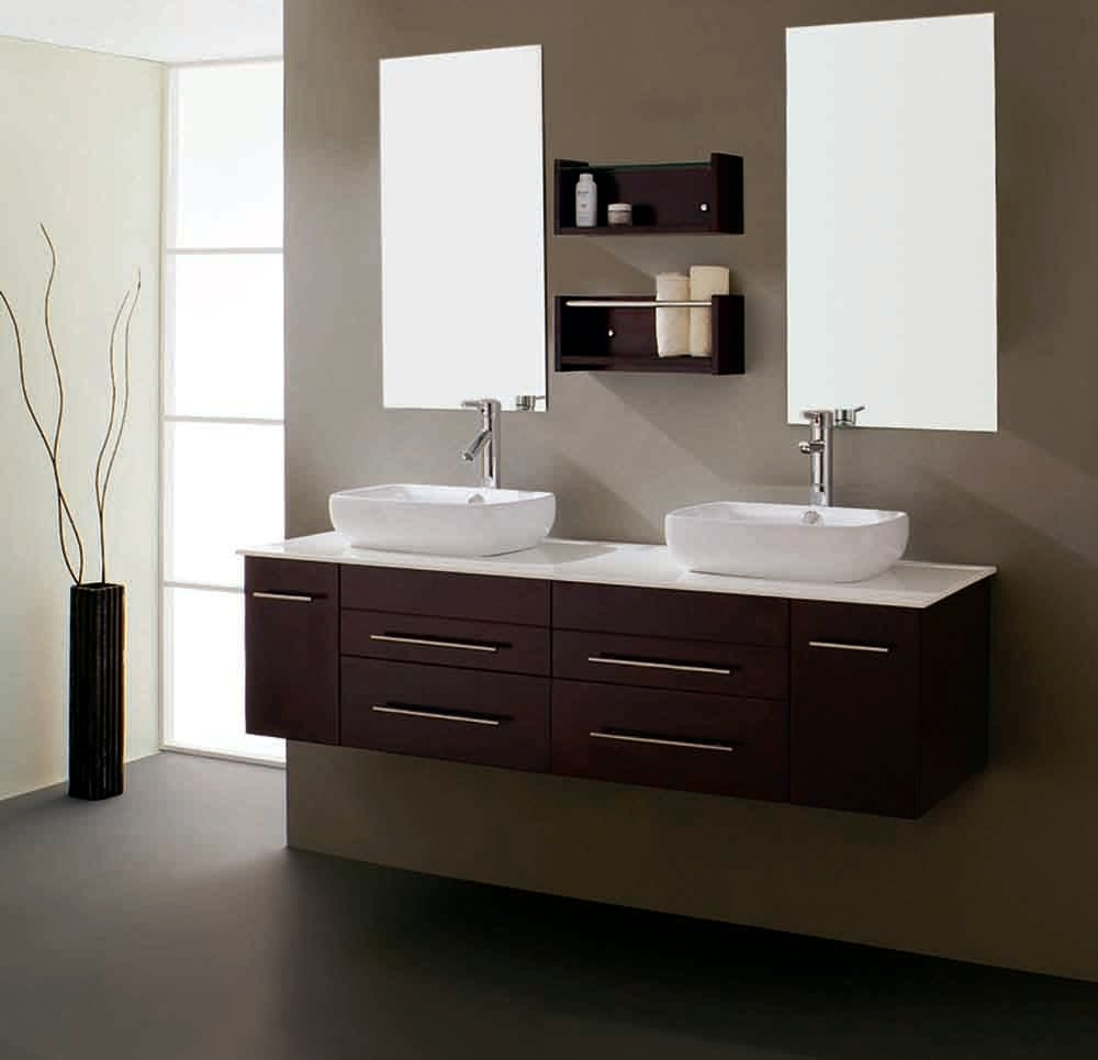Creative  Vanity Single Sink Cabinet Dark Walnut Finish  Bathroom Vanities