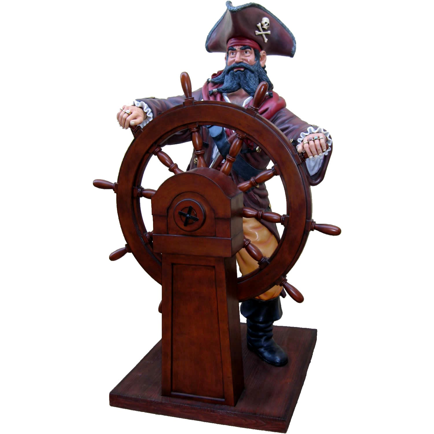 Black Beard Pirate Statue With Wheel Life Size
