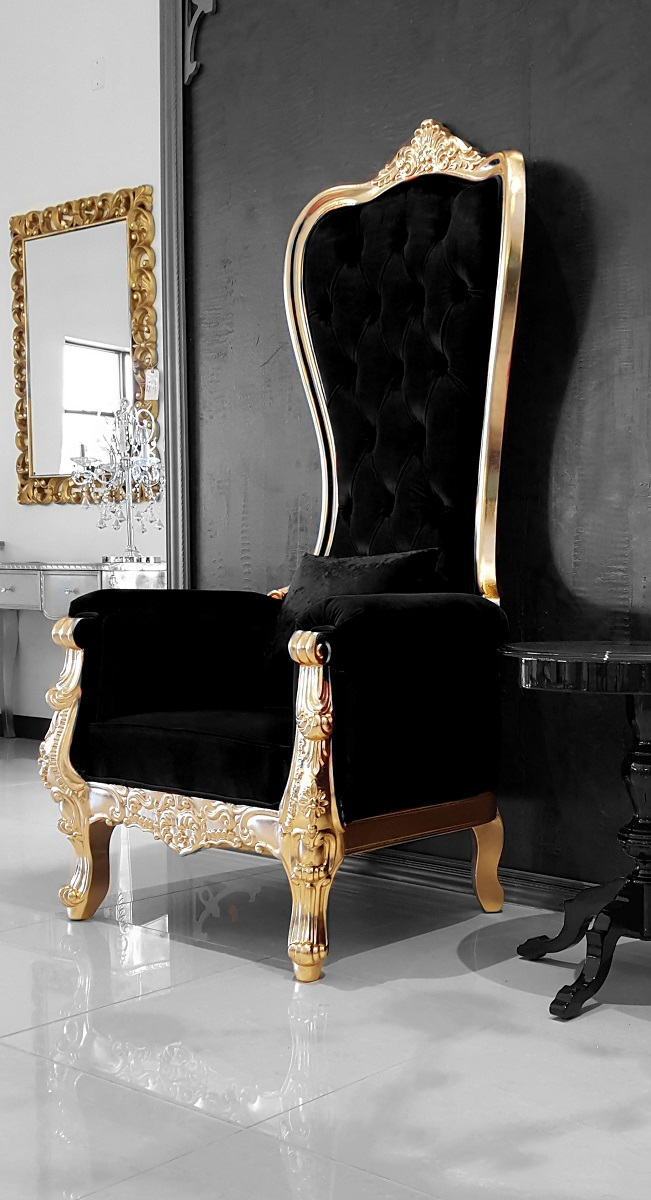 Baroque Throne Chair Queen High Back Chair Black and Gold : queen high back black velvet gold throne 25 from theinteriorgallery.com size 651 x 1200 jpeg 214kB