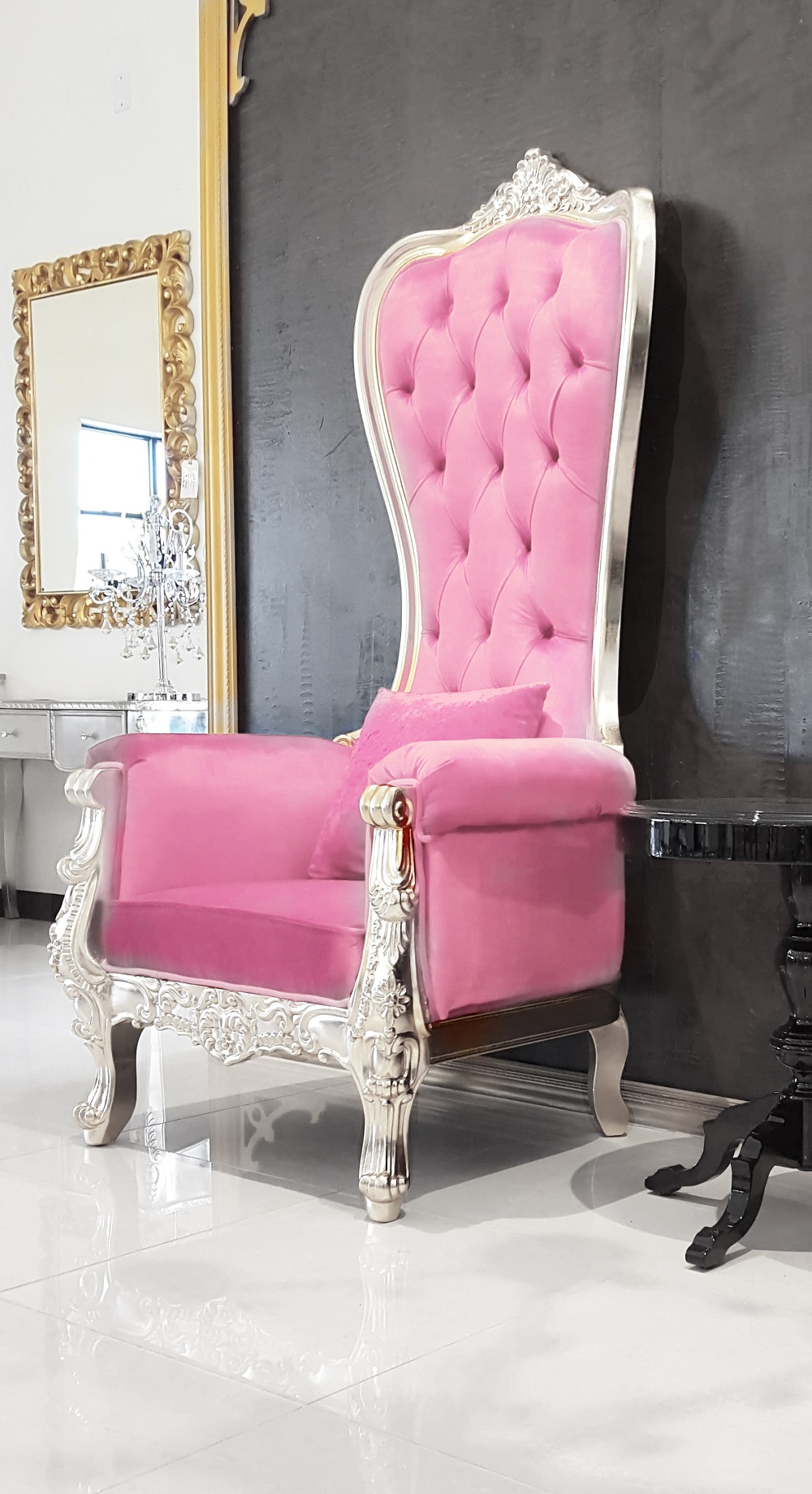 Pink Leather Baroque Throne Chair Queen High Back Silver Frame