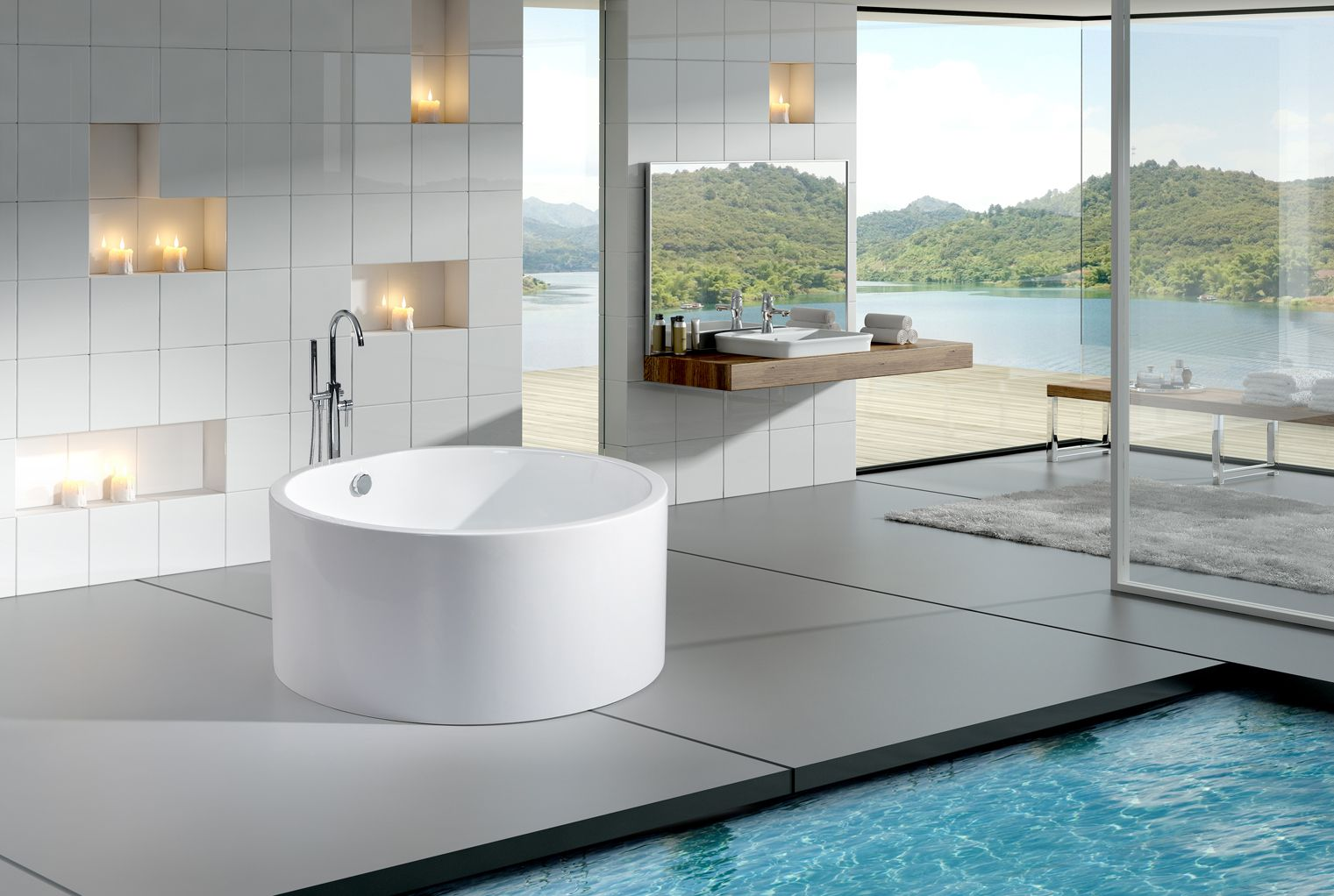 Click To See Larger Image Dana Modern Freestanding Soaking Round Bathtub 51