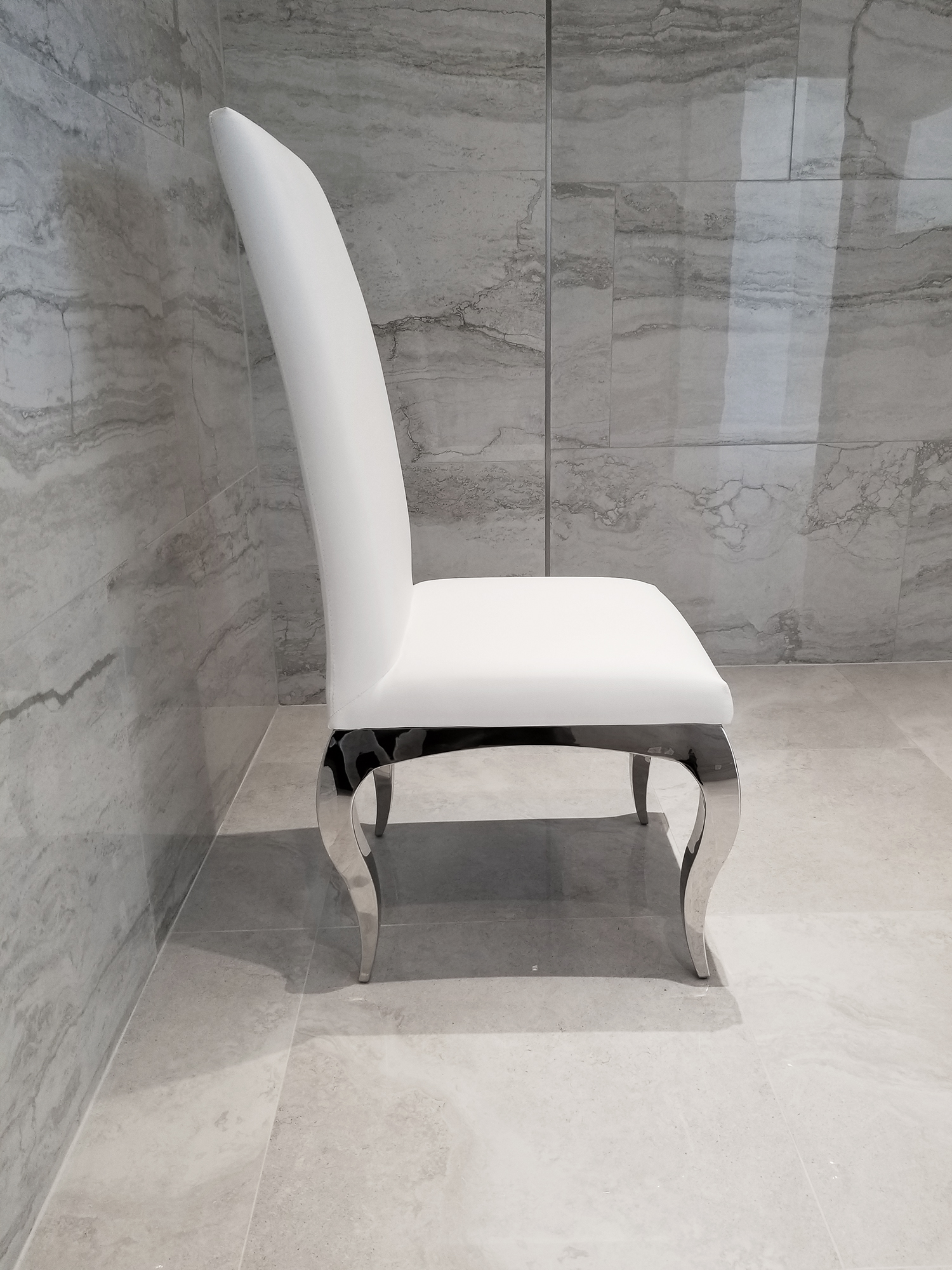 Picture of: Tricase Modern Dining Chair Upholstered In White Leather