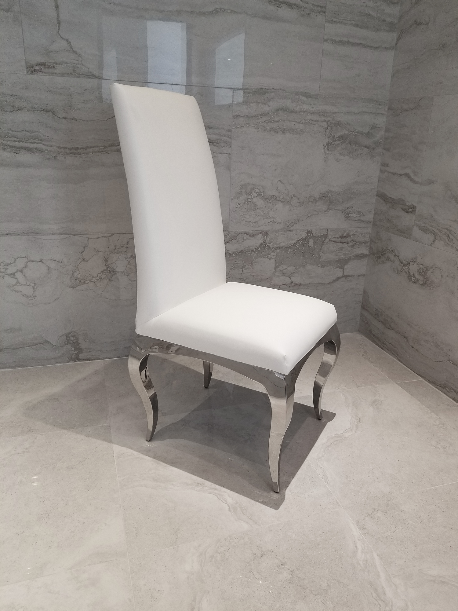 Tricase Modern Dining Chair Upholstered In White Leather