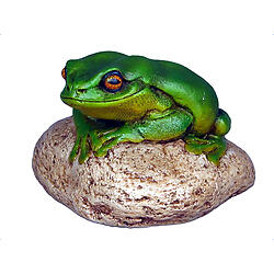 Frog statue On Rock Small