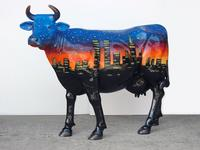 New York Theme Painted Cow Statue