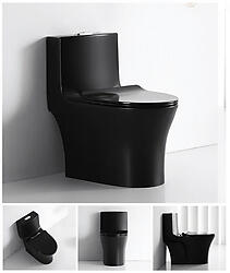Gloss Black Toilet Modern One Piece Dual Flush - Verona