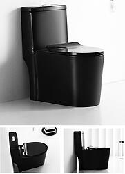 Black Gloss Toilet Modern One Piece Dual Flush - Savaro