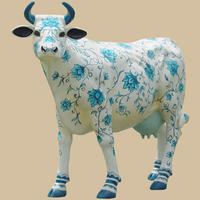 China Theme Painted Cow Life Size Statue