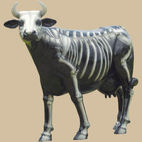Skeleton Painted Cow Life Size Statue