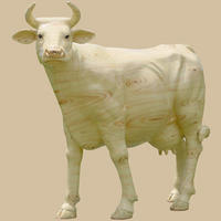 Wood Theme Painted Cow Life Size Statue