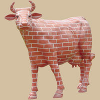 Brick Cow Theme Painted Life Size Statue