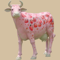 Strawberry Milk Shake Cow Statue