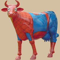 Cow Painted in Spiderman Theme Life Size Statue