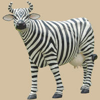 Cow Painted in Zebra Theme Life Size Statue