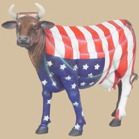 American Flag Cow Life Size Statue