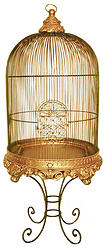 Imperial Decorative Bird Cage with Stand Gold