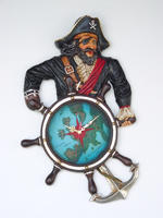 Pirate Captain Ship Wheel Clock Wall Decor