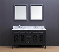Rocca Transitional Bathroom Vanity Set with Carrera Marble Top Charcoal Gray 60