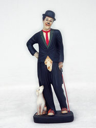 Charlie Chaplin with dog Statue