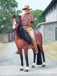 Cowboy Riding Horse Life Size Statue