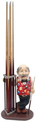 Billiard Player with Cue Rack