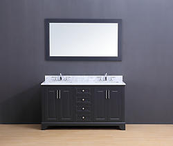 Franklin Transitional Bathroom Vanity Set with Carrera Marble Top Charcoal Gray 60