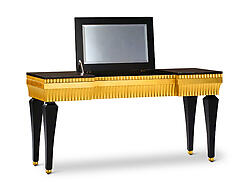 Gaston Baroque Bedroom Makeup Vanity Black and Gold