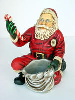 Santa Claus Kneeling with Gift Bag Christmas Decor Statue