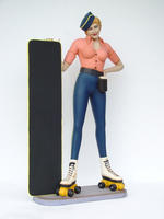 Rollerskate Diner Waitress Statue with Menu