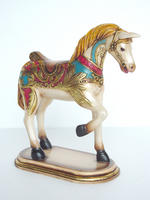 Carousel Horse Statue with Gold Leaf Design