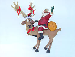 Reindeer Standing with Santa Statue Christmas Decor 4Ft
