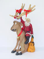Reindeer Sitting with Santa Claus Statue Christmas Decor 4FT