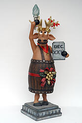 Funny Christmas Reindeer Liberty in Barrel Statue 6FT