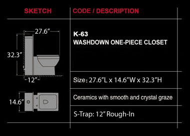 Pesaro - One Piece Dual Flush Modern Bathroom Toilet
