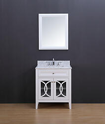 Rocca Transitional Bathroom Vanity Set with Carrera Marble Top White 30
