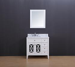 Rocca Transitional Bathroom Vanity Set with Carrera Marble Top White 36