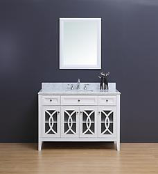 Rocca Transitional Bathroom Vanity Set with Carrera Marble Top White 48