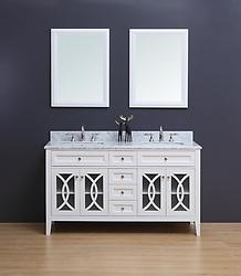 Rocca Transitional Bathroom Vanity Set with Carrera Marble Top White 60