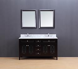Rocca Transitional Bathroom Vanity Set with Carrera Marble Top Espresso 60