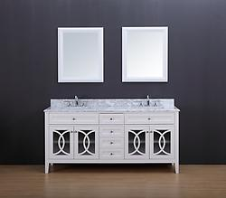 Rocca Transitional Bathroom Vanity Set with Carrera Marble Top White 72